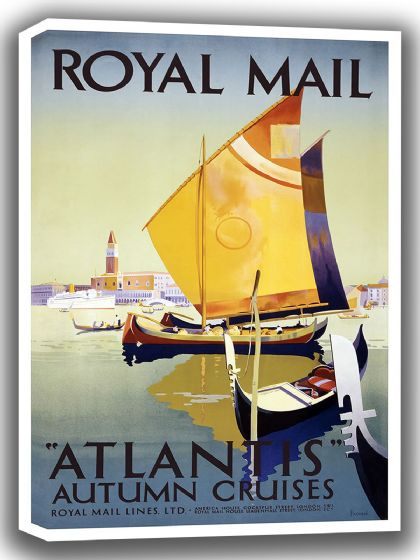 Atlantic Autumn Cruises. Vintage Royal Mail Lines Travel/Tourism Canvas. Sizes: A4/A3/A2/A1 (002746)